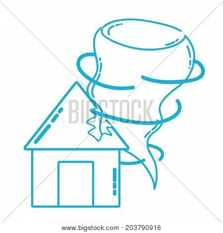 line house with tornado storm disaster weather vector illustration