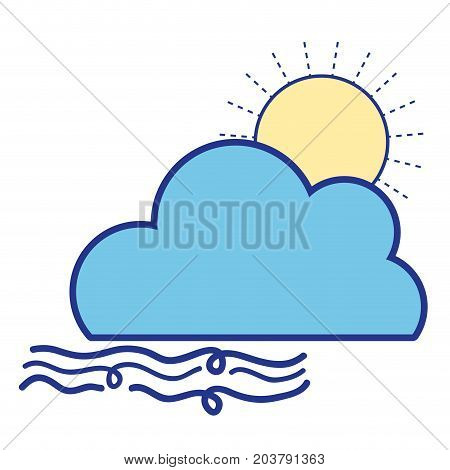 nice sun with cloud and fresh wind weather vector illustration