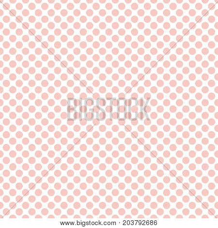 Seamless rose quartz pink polka dots pattern texture background