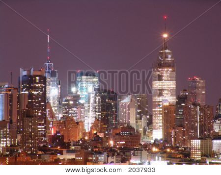 Night time skyline shot of New York City.-slight graininess, best at smaller sizes poster