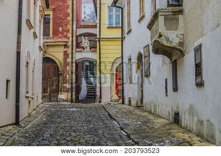 Streets and passageways mansions and old constructions traces of other epochs in the historical center of Bratislava Slovakia