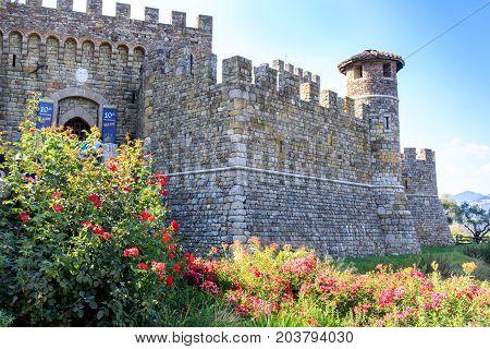 Calistoga, Napa Valley, California, USA - September 9, 2017: Castello Di Amorosa.