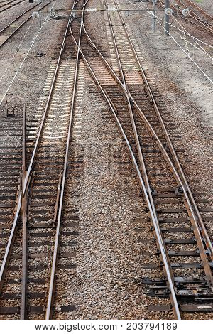 Track of rails with old timber sleepers, top view