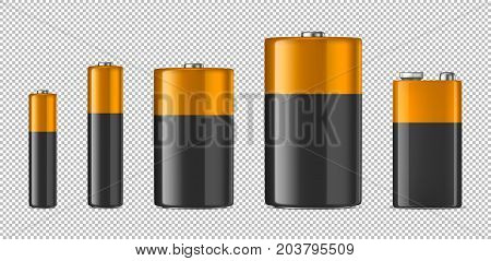 Vector realistic alkaline batteriy icon set. Diffrent size - AAA, AA, C, D, PP3. Design template for branding, mockup. Closeup isolated on transparent background. Stock vector. EPS10 illustration.