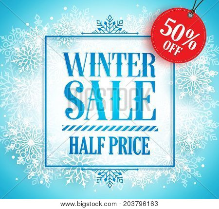 Winter sale banner vector design for season promotion with winter frame, snow and 50% off red discount tag in snow blue background. Vector illustration.