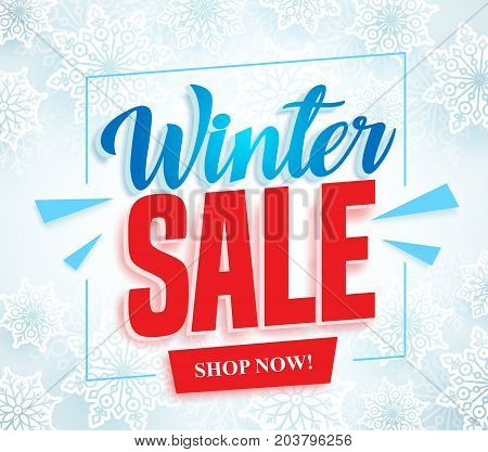 Winter sale vector banner with 3d red sale text and frame in white snow background for seasonal store promotion. Vector illustration.