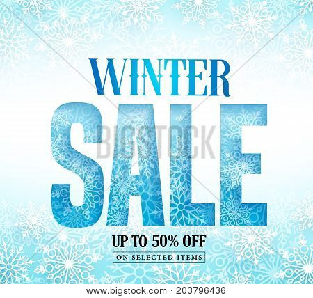 Winter sale text with snow pattern and white snowflakes in blue background. Winter sale vector illustration banner design for season shopping promotion.