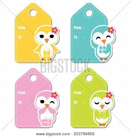 Cute penguin girls on colorful background vector cartoon illustration for birthday gift tag design, label tag and stciker set design