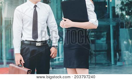 Business Couple Meeting In Outdoors After Work