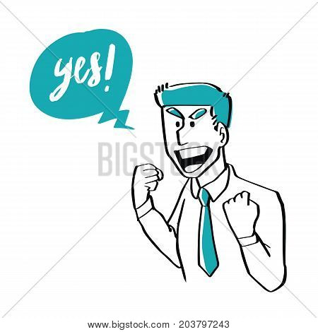 Hand drawn doodle style a businessman is cheerful about celebrating success business concept.