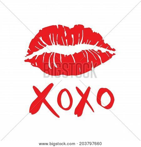 Freehand simple drawn Hugs and kisses with lipstick kiss on a white background vector illustration design.