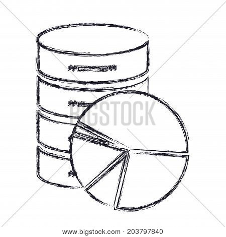 server hosting storage icon and available space circular graphic in blurred silhouette vector illustration