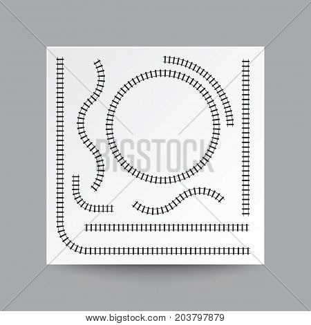 Railway curve straight circle arc collection set illustration vector blank white square paper on transparent and real shadow.