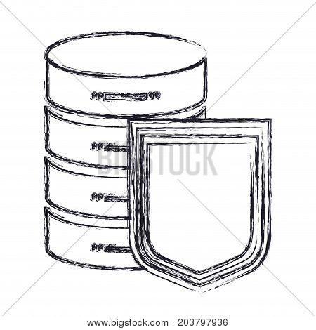 server hosting storage and protection shield icon in blurred silhouette vector illustration