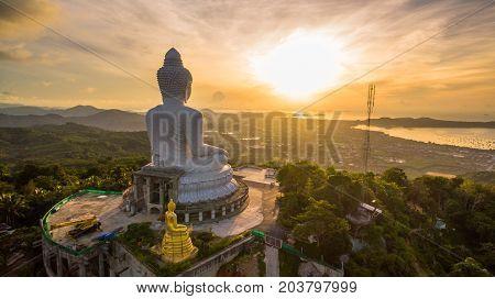 Beautiful Sunrise In Front Of Phuket Big Buddha