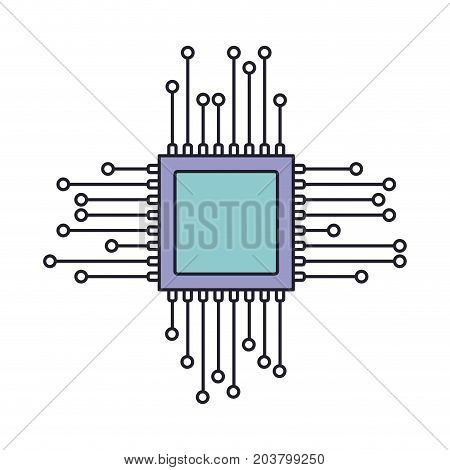 microchip icon in color section silhouette vector illustration
