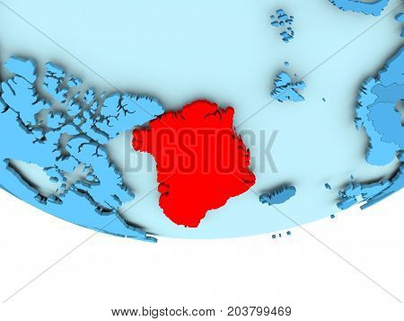 Greenland In Red On Blue Map
