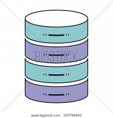 server hosting storage icon in color section silhouette vector illustration