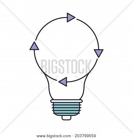 light bulb with reload icon in color section silhouette vector illustration