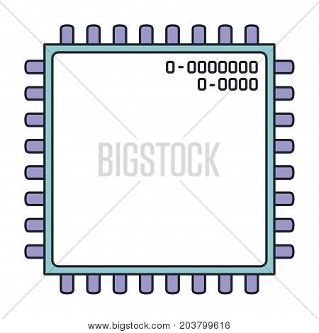 microchip closeup icon in color section silhouette vector illustration