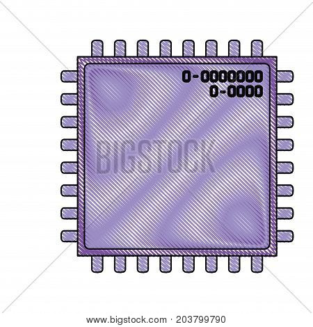 microchip closeup icon in color crayon silhouette vector illustration