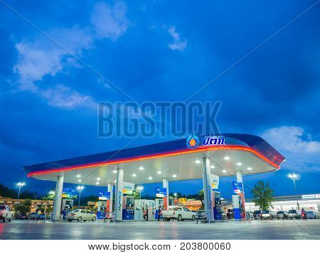 Songkhla Thailand - Sep 9 2017: PTT gas station. PTT Public Company Limited or simply PTT is a Thai state-owned SET-listed oil and gas company.Formerly known as the Petroleum Authority of Thailand.
