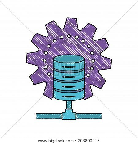 data base center icon in color crayon silhouette vector illustration
