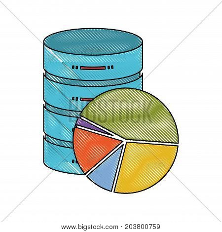 server hosting storage icon colorful and available space circular graphic in color crayon silhouette vector illustration