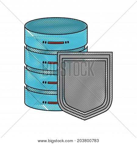 server hosting storage and protection shield icon in color crayon silhouette vector illustration