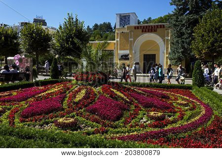 KISLOVODSK; RUSSIA - SEPTEMBER 09; 2017:A large beautiful flowerbed in the resort park and one of the attractions of the city of Kislovodsk, one of the largest resorts in Russia.
