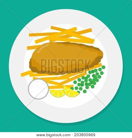 vector illustration of fish and chips on plate