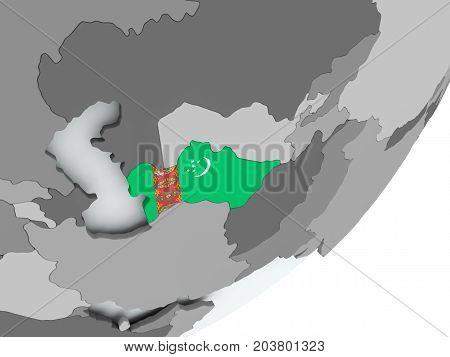 Flag Of Turkmenistan On Map