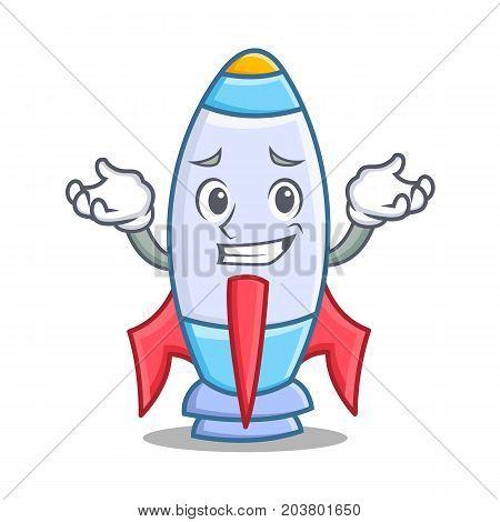 Grinning cute rocket character cartoon vector illustration