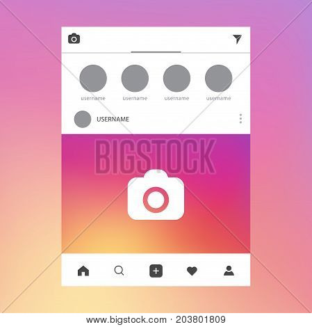 Photo frame vector illustration Social network post frameCamera Icon in trendy style on color background. Camera symbol for your web site design logo Vector illustration