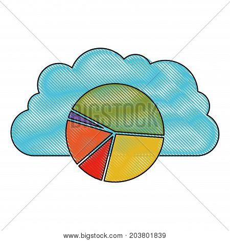 cloud storage data service icon and available space circular graphic in color crayon silhouette vector illustration