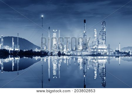 Landscape of oil refinery plant at twilight scene.