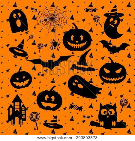 Happy Halloween design elements with ghost pumpkin castle bat hat spider web for greeting card poster banner Vector illustration icon