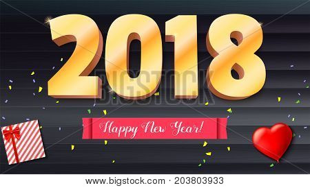 Happy New Year 2018. Volumetric numbers from gold. Red banner with text. Congratulation poster on wooden backdrop. Greeting card, poster, brochure or flyer template. Vector 3D illustration