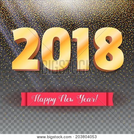 Volumetric numbers from gold. Happy New Year 2018. Red banner with text. Congratulation poster on snow backdrop. 3D illustration on transparent backdrop. Greeting card, poster or flyer template