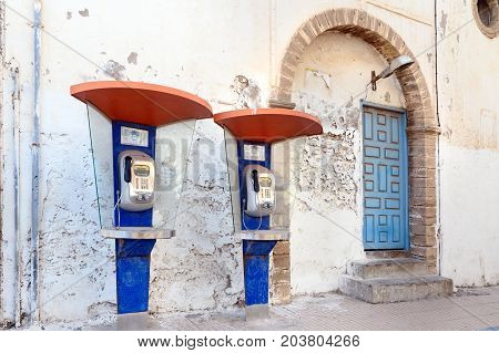 Public Telephone Booths In The Medina Of Essaouira. Morocco
