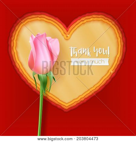 Paper cut heart shapes. 3D illustration, abstract background. Layered paper art. Thank you greeting, postcard for romance and love relations with bud of rose. Modern origami design template