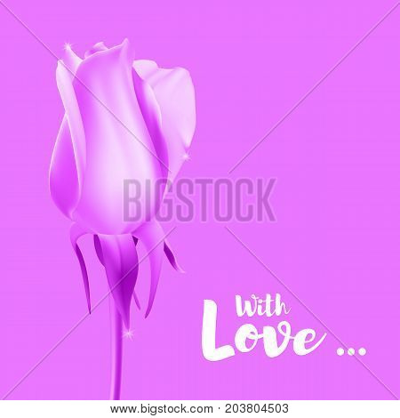 Realistic rose Bud with stem and leaves. Pink, monochrome postcard, close-up the flower Bud of the rose. The symbol of romance and love, a template for a greeting card, 3D illustration.