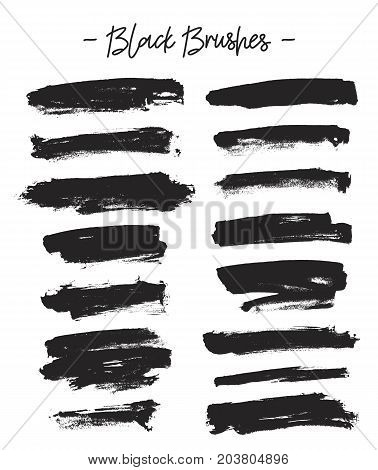 Vector brushes. Set of black ink on a white background. Elements for design. Abstraction.