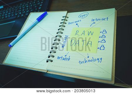 Raw Data, Post It In The Notebook Paper With Ink Pen, Education. Office Supplies