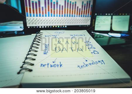 Raw Data, Business Information Technology People Work Hard Data Analytics Statistics