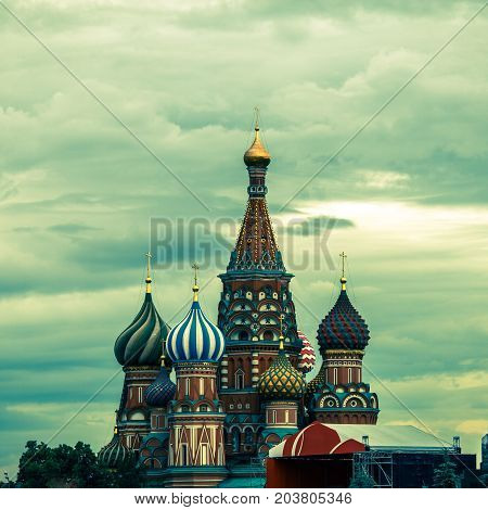 Cathedral of Vasily the Blessed on Red Square Moscow Russia. Toned photo