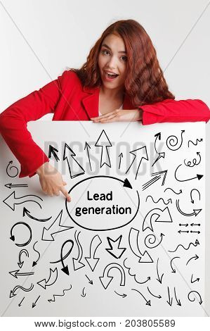 Technology, Internet, Business And Marketing. Young Business Woman Writing Word: Lead Generation.