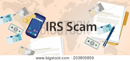 IRS tax scam via phone security fraud vector illustration paper and money