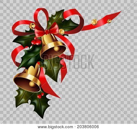 Christmas decoration of holly leaf wreath, golden bells and red ribbon bow on transparent background. Vector isolated decorative element for Christmas or New Year greeting card design template