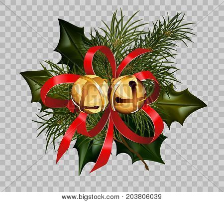 Christmas decoration design template of holly leaf and fir tree wreath in golden ball bells and red ribbon bow on transparent background. Vector isolated decorative element for Christmas greeting card